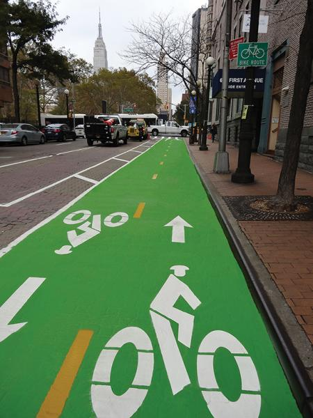 Green bike lane NYC